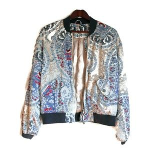 Free People Floral Paisley Quilted Bomber Jacket